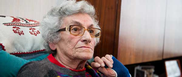 """Figa Kalman, 94, was in the Lodz ghetto. She receives homecare services from The Royal Society for Jewish Welfare (""""Centrale"""") in Belgium."""