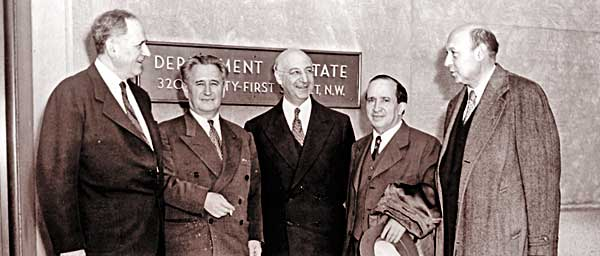 An early Claims Conference delegation meeting at the State Department in 1952, where they urged Secretary of State Dean Acheson to continue U.S. support for Jewish and Israeli claims against Germany.