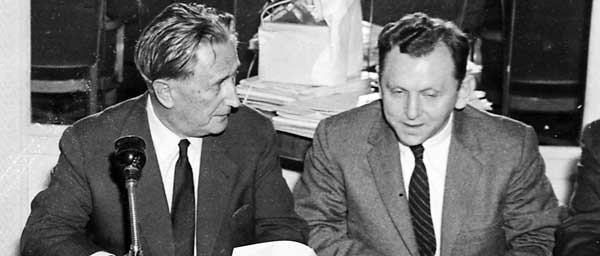 Nahum Goldmann, founding president of the Claims Conference, and Saul Kagan, its executive director at a 1958 meeting in London.