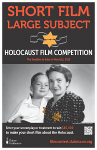 "In the tradition of iconic films such as ""Sophie's Choice,"" ""Shoah,"" ""Schindler's List,"" and ""The Pianist,"" the Claims Conference, by launching this competition, aims to encourage a new generation of directors to tackle the Holocaust as a subject matter in their work and to use their creativity and skills to portray new perspectives and observations about a dark era in human history."