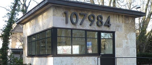 Wollheim Pavilion, Goethe University, Frankfurt. The number on the building is Norbert Wollheim's Auschwitz tattoo number. Photo Frank Behnsen