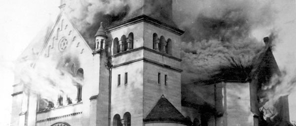 A synagogue in Baden-Baden was one of more than 250 that were burned during Kristallnacht. The Gestapo ordered that firefighters and police were to do nothing to halt the mass destruction carried out in Germany and Austria the night of November 9-10, 1938.