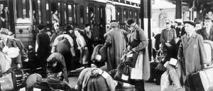 Hanau, Germany, Jews boarding a deportation train May 30 1942 to Theresienstadt. Photo: Yad Vashem