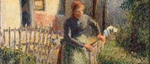 """La bergère rentrant des moutons,"" (La Bergère or Shepherdess Bringing in the Sheep ), painted by Jewish artist Camille Pissarro in 1886"