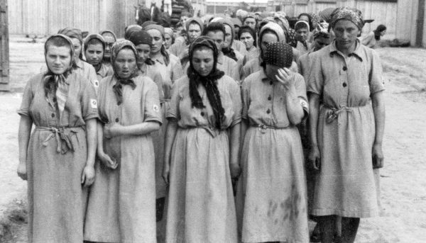 Jewish women selected for slave labor at Auschwitz after their heads had been shaved. Photo: Yad Vashem, the Auschwitz Album